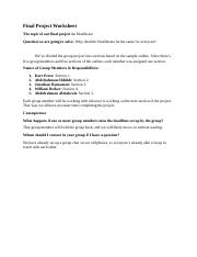 Final Project Worksheet Group 5