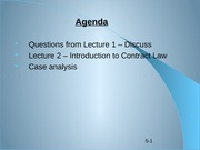 Lecture 2 - intro to contract law