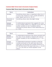 Common Math Terms Used in Economic Analysis Notes