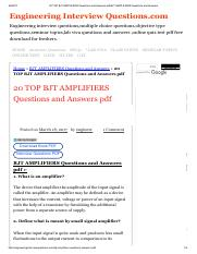 20 TOP BJT AMPLIFIERS Questions and Answers pdf BJT AMPLIFIERS Questions and Answers.pdf