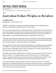 Australian Dollars Weighs on Retailers - WSJ