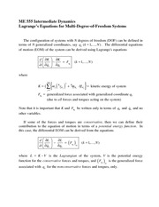 Lagrange's Equations for Multi-Degree-of-Freedom Systems Review