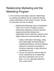 Relationship Marketing (Chapter 1)