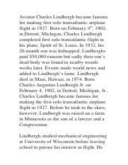 Aviator Charles Lindbergh became famous for making the first solo transatlantic airplane flight in 1