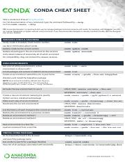 conda-cheatsheet - CONDA CHEAT SHEET Take a conda test drive at bit
