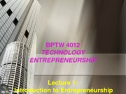 L1 - Introduction to Entrepreneurship
