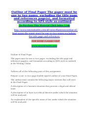 Outline of Final Paper The paper must be one to two pages, excluding the title page and references p