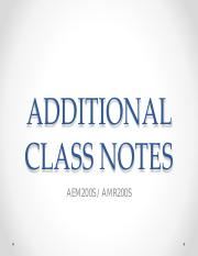 ADDITIONAL CLASS NOTES