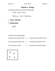 Lecture Notes (Chapter 8 - Energy)