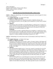 Literature Review of Peer Reviewed Articles .docx