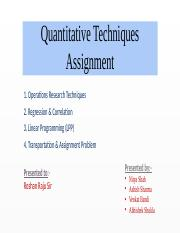 Quantitative Techniques Assignment  PPT.pptx