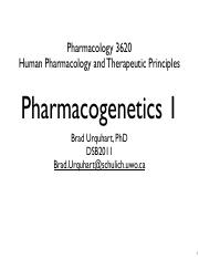 Topic 7 - Pharmacogenetics I