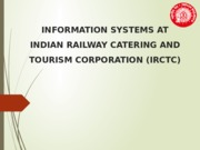 Information System at IRCTC