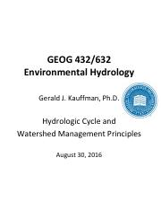 GEOG 432 632 Introduction to Environmental Hydrology