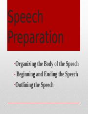 Preparing the Speech(1)