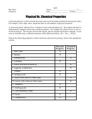 physical vs. chemical properties and changes key
