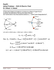 Solved Problems-Ch23 B-Electric Field-  Fall 2014-2015