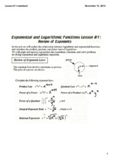 Lesson 1 Exponential Functions