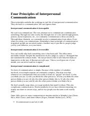 Four Principles of Interpersonal Communication