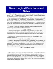 Basic Logical Functions and Gates