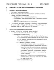 Exam 2 Study Guide- Sexual and Gender Identity Disorders
