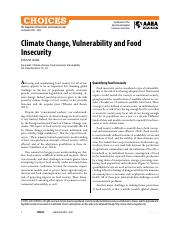 Climate Change, Vulnerability and Food Insecurity