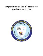 Experience of the 1st Semester Students of AIUB