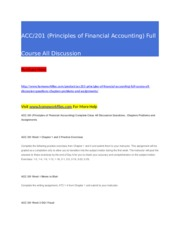 ACC 201 (Principles of Financial Accounting) Full Course All Discussion