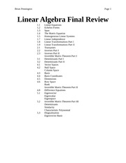 Linear Algebra Final Review