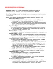 SCIENCE PROJECT AND PAPER Guidelines (Spring 2015)