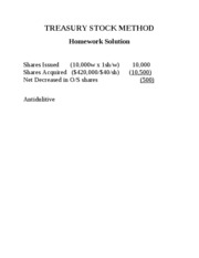 TREASURY+STOCK+METHOD+Homework+Solution