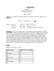Thermochemistry LAB REPORT