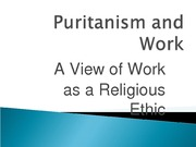 Puritanism and Work B STB