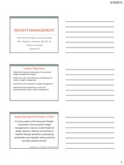 Lesson 18 Weight Management