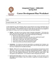 Career Development Plan Worksheet