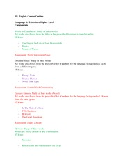 HL English - Course Outline