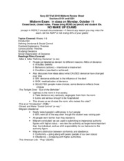 Socy 227 Fall 2010 Midterm Review Sheet