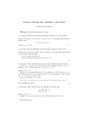MATH 315 Winter 2015 Midterm 1 Solutions