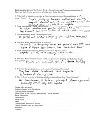 AHI 1C Impressionism and Post Impressionism Study Questions011