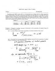STAT 201 Fall 2014 Quiz 5 Solutions