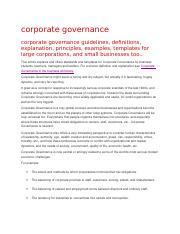 corporate governance discussion