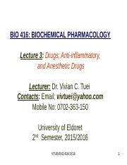 Lecture 3-anti-inflamatory and anaesthetic drugs