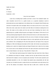 Story of an Hour Essay ENG 200 Roemer
