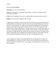 stages of critical thinking hum 115 Hum 115 week 1 stages of critical thinking instructions complete the university of phoenix material: stages of critical thinking worksheet you will need to use.
