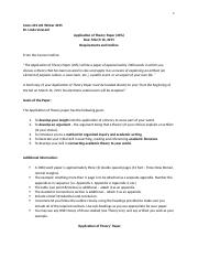 Application of Theory Paper - Requirements and Outline