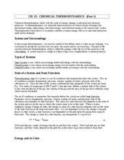 CH. 15  CHEMICAL THERMODYNAMICS   (Part 1)