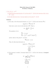 Exam 2 Solution on Calculus III Fall 2001