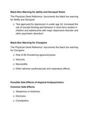 Black Box Warning for ability and Seroquel Notes