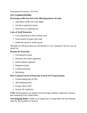 Chapter 7: Commercial Policy Notes