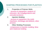 Topic 6 Shaping Process For Platics Part A